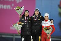 SCHAATSEN: GRONINGEN: Sportcentrum Kardinge, 18-01-2015, KPN NK Sprint, Podium 2e 1000m Heren, Kjeld Nuis, Hein Otterspeer, Koen Verweij, ©foto Martin de Jong