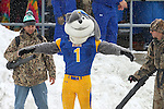 BROOKINGS, SD - NOVEMBER 15: South Dakota State University mascot Jack, has the snow blown off him by workers during the Jackrabbits game against Western Illinois Saturday afternoon at Coughlin Alumni Stadium in Brookings. (Photo by Dave Eggen/Inertia)