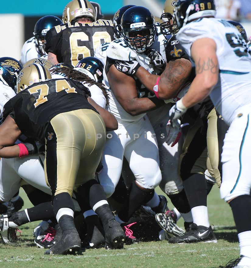 LEGER DOUZABLE, of the Jacksonville Jaguars, in action during the Jaguars game against the New Orleans Saints on October 2, 2011 at EverBank Field in Jacksonville, FL. The Saints beat the Jaguars 23-10.