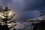 Sunset with storm clouds over Pacific ocean and rock formations with silhouetted trees in foreground on bluff Crescent City Northern California USA