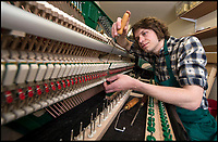 BNPS.co.uk (01202 558833)<br /> Pic: PhilYeomans/BNPS<br /> <br /> Britain's last piano makers Cavendish, based near Bolton Abbey in Yorkshire.<br /> <br /> The Heritage Craft Association have released a 'Red list' of Britains most critically endagered crafts and craftsmen.<br /> <br /> The list highlights some age old skills that are in grave danger of becoming extinct in the country formely known as the 'Workshop of the World'.<br /> <br /> According to research carried out on behalf of the HCA, four crafts have become extinct in the UK in the past 10 years &ndash; cricket ball making, gold beating, lacrosse stick making and sieve and riddle making.<br /> <br /> A further 17 crafts are classified as 'critically endangered' since they have only a handful of practitioners and few have any trainees. <br /> <br /> These include saw making, hat block making, horse collar making, paper marbling, piano making and making wooden planes for furniture. <br /> <br /> However, there are artisans scattered around the country keeping these traditional crafts alive who have long waiting lists because there is still a demand for their very specialised skills.