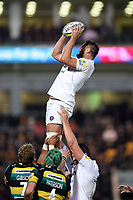 Elliott Stooke of Bath Rugby wins the ball at a lineout. Aviva Premiership match, between Northampton Saints and Bath Rugby on September 15, 2017 at Franklin's Gardens in Northampton, England. Photo by: Patrick Khachfe / Onside Images