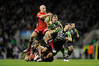 Peter Stringer of Saracens gets the better of Danny Care of Harlequins during the Aviva Premiership match between Harlequins and Saracens at Twickenham on Tuesday 27 December 2011 (Photo by Rob Munro)