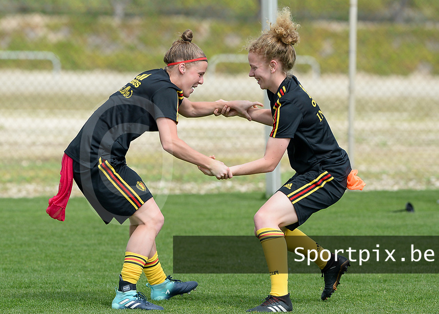 20180306 - LARNACA , CYPRUS :  Belgian Laura Deloose (left) pictured with Charlotte Tison (r) during a Matchday -1 training from The Belgian Red Flames prior to their game against South Africa , on tuesday 6 March 2018 at the Alpha Sports Grounds in Larnaca , Cyprus . This will be the final game for Belgium during the Cyprus Womens Cup for a battle for the 5th place , a prestigious women soccer tournament as a preparation on the World Cup 2019 qualification duels. PHOTO SPORTPIX.BE | DAVID CATRY