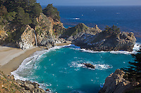Monterey County, CA          <br /> Waterfall at McWay Creek, Julia Pfeiffer Burns State Park on the coastline of Big Sur