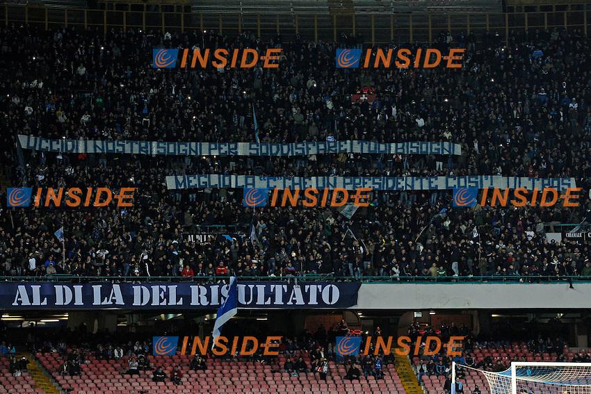 Striscione tifosi Napoli<br /> Napoli 08-02-2014 Stadio San Paolo - Football 2013/2014 Serie A. Napoli - Milan Foto Insidefoto