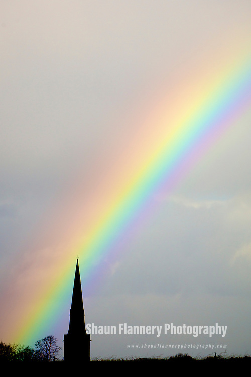 Pix: Shaun Flannery/shaunflanneryphotography.com...COPYRIGHT PICTURE>>SHAUN FLANNERY>01302-570814>>07778315553>>..11th November 2010.............A rainbow over Holy Trinity Parish Church, Wentworth nr. Doncaster