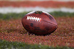 """An official Wilson """"The Duke"""" NFL football rests in the end zone during the San Francisco 49ers NFC Championship NFL football game against the New York Giants on January 22, 2012 in San Francisco, California. The Giants won 20-17 in overtime. (AP Photo/David Stluka)"""