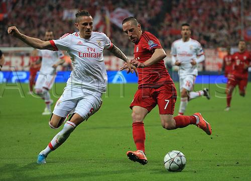 05.04.2016. Munich, Germany. UEFA Champions League FC Bavaria Munich versus Benfica Lisbon. Ljubomir Fejsa (Benfica) covers Franck Ribery (FCB)