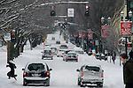 Winter storm of 2008 on burnside, downtown Portland, Oregon