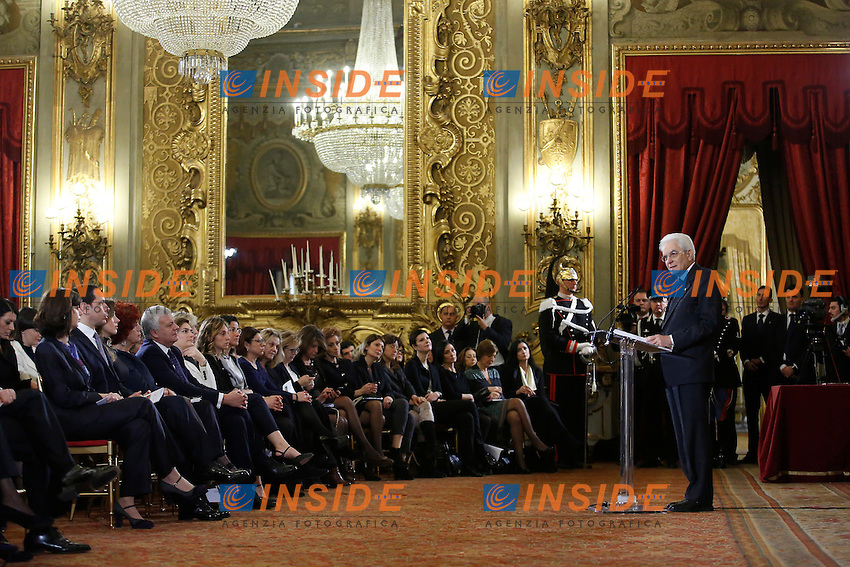 Sergio Mattarella e la platea<br /> Roma 07-03-2015 Palazzo del Quirinale. Celebrazione della Giornata Internazionale della Donna.<br /> Celebration of the International Women's Day<br /> Photo Samantha Zucchi Insidefoto