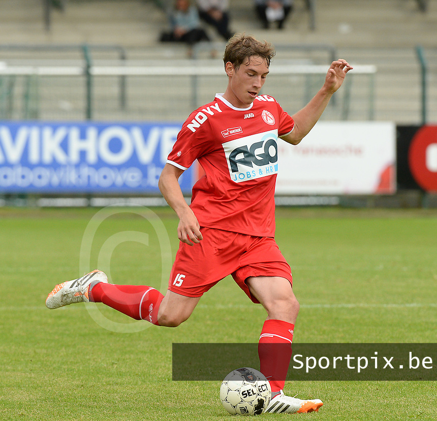 20140627 - HARELBEKE , BELGIUM:  Kortrijk's Dylan Ragolle pictured during a friendly match between SW Harelbeke and Belgian first division soccer team KV Kortrijk, the third match for Kortrijk of the preparations for the 2014-2015 season, Friday 27 June 2014 in Bissegem. PHOTO DAVID CATRY