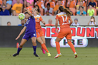 Stephanie Catley (7) of the Orlando Pride gains control of a loose ball in front of Kealia Ohai (7) of the Houston Dash on Friday, May 20, 2016 at BBVA Compass Stadium in Houston Texas. The Orlando Pride defeated the Houston Dash 1-0.