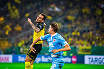 09.08.2019, Merkur Spiel-Arena, Düsseldorf, GER, DFB Pokal, 1. Hauptrunde, KFC Uerdingen vs Borussia Dortmund , DFB REGULATIONS PROHIBIT ANY USE OF PHOTOGRAPHS AS IMAGE SEQUENCES AND/OR QUASI-VIDEO<br /> <br /> im Bild | picture shows:<br /> Kopfballduell zwischen Paco Alcacer (Borussia Dortmund #9) und Andreas Maxsoe (KFC Uerdingen #2). <br /> <br /> Foto © nordphoto / Rauch