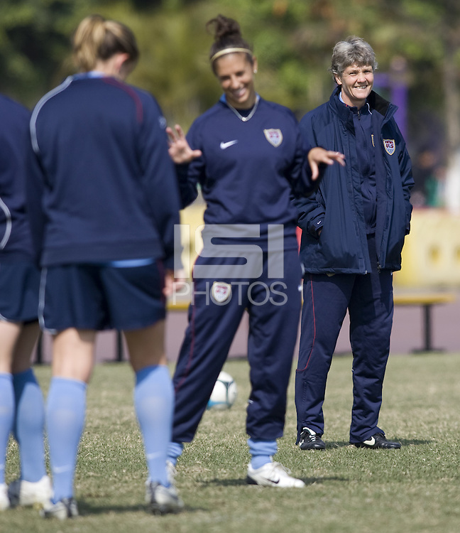 USA head coach Pia Sundhage during practice in preparation for the Four Nations Tournament in Guangzhou, China on January 15, 2008