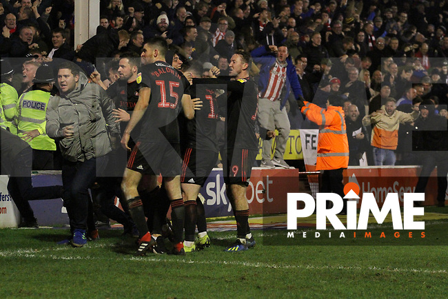 Lynden Gooch (Sunderland AFC) celbrates the equaliser during the Sky Bet League 1 match between Walsall and Sunderland at the Banks's Stadium, Walsall, England on 24 November 2018. Photo by James  Gill / PRiME Media Images.