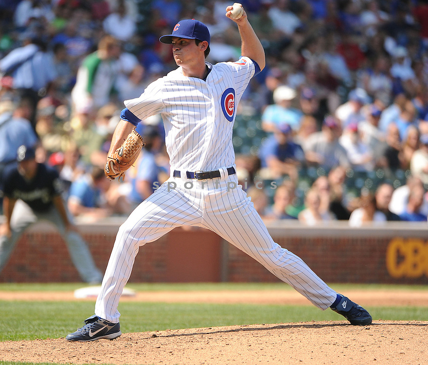BROOKS RALEY (43) of the Chicago Cubs, in action during the Cubs game against the Milwaukee Brewers on August 30, 2012 at Wrigley Field in Chicago, IL. The Cubs beat the Brewers 12-11.