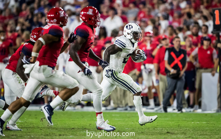 16FTB at Arizona 2249<br /> <br /> 16FTB at Arizona - Cactus Kickoff<br /> <br /> BYU Football defeated Arizona 18-16 in the Cactus Kickoff hosted at the University of Phoenix Stadium in Glendale, Arizona. It was also the first win for new Head Coach Kalani Sitake. <br /> <br /> September 3, 2016<br /> <br /> Photo by Jaren Wilkey/BYU<br /> <br /> &copy; BYU PHOTO 2016<br /> All Rights Reserved<br /> photo@byu.edu  (801)422-7322