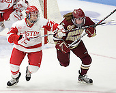 Tara Watchorn (BU - 27), Emily Field (BC - 15) - The visiting Boston College Eagles defeated the Boston University Terriers 3-1 on Saturday, November 5, 2011, at Walter Brown Arena in Boston, Massachusetts.