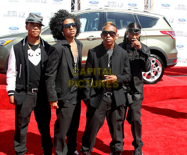 Mindless Behavior - Princeton; Prodigy; Ray Ray; Roc Royal.2012 BET Awards held at The Shrine Auditorium, Los Angeles, California, USA..July 1st, 2012.full length black white suit jacket sunglasses shades band group.CAP/ADM/SLP/PS.©PS/SLP/AdMedia/Capital Pictures.
