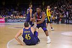 League ACB-ENDESA 2017/2018 - Game: 11.<br /> FC Barcelona Lassa vs Iberostar Tenerife: 91-93.<br /> Adrien Moerman &amp; Kevin Seraphin.