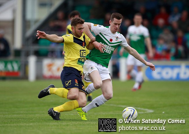 Aberystwyth Town 1 Newtown 2, 17/05/2015. Park Avenue, Europa League Play Off final. Aberystwyth's Chris Venables and Newtown's Tom Goodwin contest a loose ball. Aberystwyth finished 14 points above Newtown in the Welsh Premier League, but were beaten 1-2 in the Play Off Final. Photo by Paul Thompson.