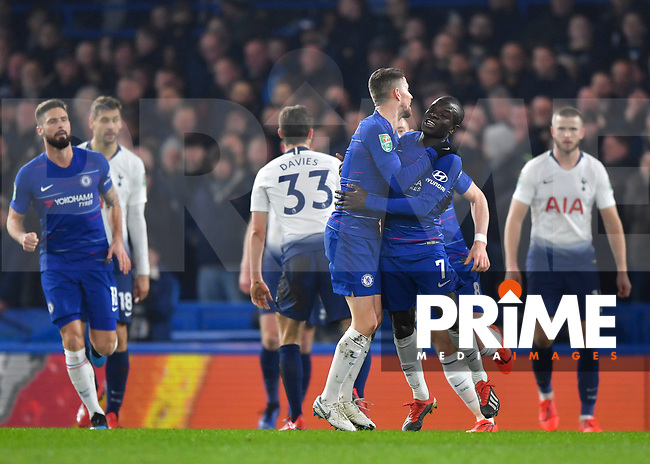Ngolo Kanté of Chelsea celebrates scoring the opening goal during the Carabao Cup Semi-Final 2nd leg match between Chelsea and Tottenham Hotspur at Stamford Bridge, London, England on 24 January 2019. Photo by Vince  Mignott / PRiME Media Images.