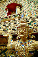 An architectural detail showing the elaborate ornamentation at the temple complex Wat Rat Uppatham (Wat Bang Riang) in Thailand..