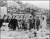 Exploration of the stepped pyramid complex of Djoser. (1924-1935)..After the discoveries were made, the greatness of Djoser was confirmed, and in 1936, Farouk, the new king of Egypt came, accompanied by his advisers and daughter, to pay homage to the former king and to Saqqara. He was received at the site by Jean-Philippe Lauer.....CHADOUF MOHAMMED/COLLECTION PATRICK CHAPUIS-PHILIPPE FLANDRIN