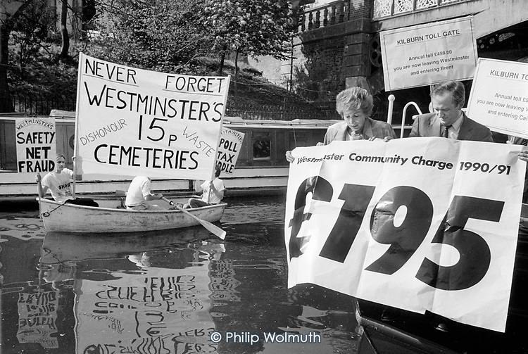 A local election publicity stunt by Lady Shirley Porter and David Hunt (Minister for the Poll Tax) on a narrowboat on the Grand Union canal, backfires when protestors opposed to the 15p sale of three council cemeteries row past.