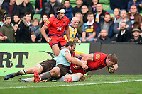 Jack Singleton of Worcester Warriors scores a try in the second half. Aviva Premiership match, between Harlequins and Worcester Warriors on October 28, 2017 at the Twickenham Stoop in London, England. Photo by: Patrick Khachfe / JMP