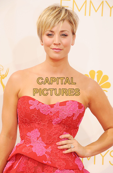 LOS ANGELES, CA- AUGUST 25: Actress Kaley Cuoco arrives at the 66th Annual Primetime Emmy Awards at Nokia Theatre L.A. Live on August 25, 2014 in Los Angeles, California.<br /> CAP/ROT/TM<br /> &copy;Tony Michaels/Roth Stock/Capital Pictures