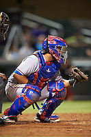 Surprise Saguaros catcher Jose Trevino (13), of the Texas Rangers organization, during a game against the Salt River Rafters on October 21, 2016 at Salt River Fields at Talking Stick in Scottsdale, Arizona.  Salt River defeated Surprise 3-2.  (Mike Janes/Four Seam Images)
