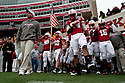 25 November 2011: Head coach Bo Pelini brings his Nebraska Cornhuskers out to play against the Iowa Hawkeyes at the Memorial Stadium in Lincoln, Nebraska. Nebraska defeated Iowa 20 to 7.