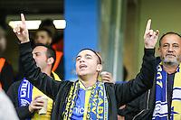 A Maccabi Tel-Aviv fan ahead of the UEFA Champions League match between Chelsea and Maccabi Tel Aviv at Stamford Bridge, London, England on 16 September 2015. Photo by David Horn.