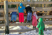 Children dressed in winter snowsuits peer through a wooden fend to view livestock on a farm in Delta Junction, Alaska