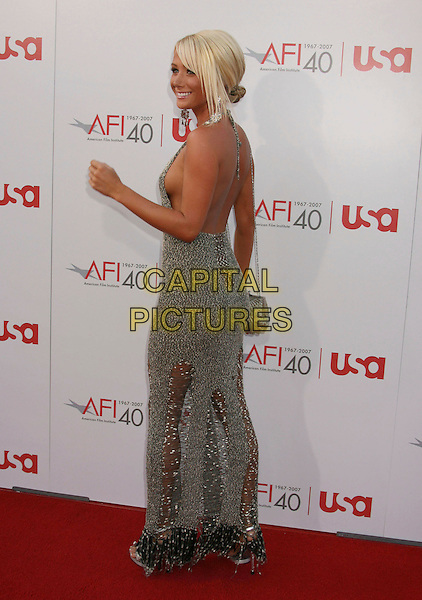 SARA JEAN UNDERWOOD.35th AFI Life Achievement Award Honoring Al Pacino held at the Kodak Theatre, Hollywood, California, USA..June 7th, 2007.full length playmate of the year 2007 dress cleavage grey gray silver long maxi back behind see through thru.CAP/ADM/RE.©Russ Elliot/AdMedia/Capital Pictures