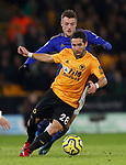 Joao Mountinho of Wolverhampton Wanderers holds off 'Jamie Vardy of Leicester City during the Premier League match at Molineux, Wolverhampton. Picture date: 14th February 2020. Picture credit should read: Darren Staples/Sportimage