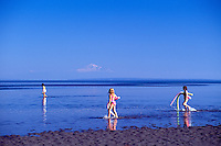 Children walking in Water of Pacific Ocean, Boundary Bay Regional Park, Delta, BC, British Columbia, Canada - Mount Baker, Washington, USA on Horizon