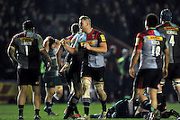 George Merrick of Harlequins celebrates at the final whistle. Aviva Premiership match, between Harlequins and Leicester Tigers on February 19, 2016 at the Twickenham Stoop in London, England. Photo by: Patrick Khachfe / JMP