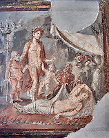 Detail of the Roman fresco wall painting of a Dionysus accompanied by Silenius and two cupids finds Ariadne in a deep sleep, he takes her to Olympus and marries her so giving her immortality ,Pompeii House of the Tragic Poet, inv 9271, Naples National Archaeological Museum,