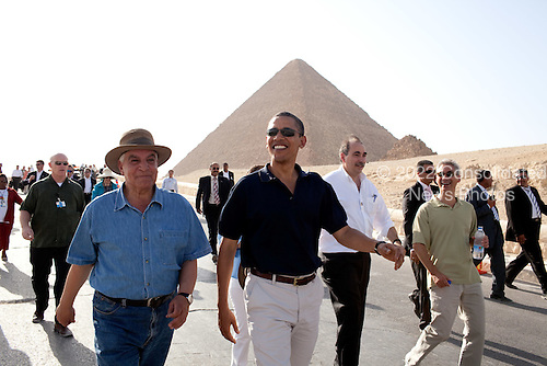 Cairo, Egypt - June 4, 2009 -- United States President Barack Obama tours the Pyramids and Sphinx with Secretary General of the Egyptian Supreme Council of Antiquities, Zahi Hawass (left),  Senior Advisor David Axelrod and Chief of Staff Rahm Emanuel (right), Thursday, June 4, 2009. .Mandatory Credit: Pete Souza - White House via CNP