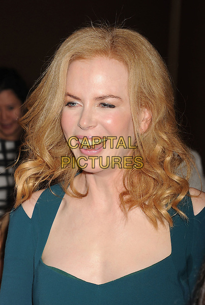 Nicole Kidman<br /> Hollywood Foreign Press Association's 2013 Installation Luncheon held at The Beverly Hilton Hotel, Beverly Hills, California, USA.<br /> August 13th, 2013<br /> HFPA headshot portrait green cut out away shoulders mouth open smiling laughing <br /> CAP/ROT/TM<br /> &copy;Tony Michaels/Roth Stock/Capital Pictures