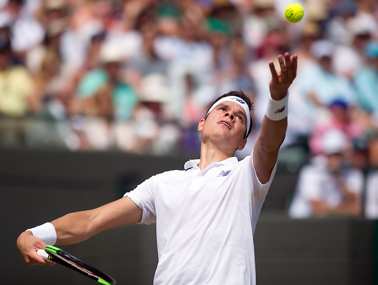 Milos Raonic (6) of Canada in action during his victory over Albert Ramos-Vinolas of Spain in their Men's Singles Third Round Match today - Raonic def Ramos-Vinolas 7-6, 6-4, 7-5<br /> <br /> Photographer Ashley Western/CameraSport<br /> <br /> Wimbledon Lawn Tennis Championships - Day 6 - Saturday 8th July 2017 -  All England Lawn Tennis and Croquet Club - Wimbledon - London - England<br /> <br /> World Copyright &not;&copy; 2017 CameraSport. All rights reserved. 43 Linden Ave. Countesthorpe. Leicester. England. LE8 5PG - Tel: +44 (0) 116 277 4147 - admin@camerasport.com - www.camerasport.com