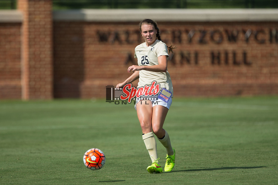Ally Haran (25) of the Wake Forest Demon Deacons controls the ball during first half action against the Georgia Bulldogs at Spry Soccer Stadium on August 23, 2015 in Winston-Salem, North Carolina.  The Deacons defeated the Bulldogs 4-0.  (Brian Westerholt/Sports On Film)