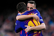 7th January 2018, Camp Nou, Barcelona, Spain; La Liga football, Barcelona versus Levante; Leo Messi of FC Barcelona celebrates his first minute goal for 1-0 with Jordi Alba of FC Barcelona