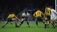 Maro Itoje of England squares up to Izack Rodda and Jermaine Ainsley of Australia during the Quilter International match between England and Australia at Twickenham Stadium on Saturday 24th November 2018 (Photo by Rob Munro/Stewart Communications)
