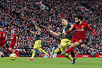 Mohamed Salah of Liverpool scores a goal that is ruled out for offside during the Premier League match at Anfield, Liverpool. Picture date: 1st February 2020. Picture credit should read: James Wilson/Sportimage