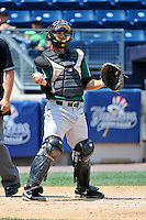 Jamestown Jammers catcher Austin Barnes #8 during a game against the Staten Island Yankees at Richmond County Bank Ballpark at St. George on August 01, 2011 in Staten Island, NY.  Staten Island defeated Jamestown 5-0.  Tomasso DeRosa/Four Seam Images