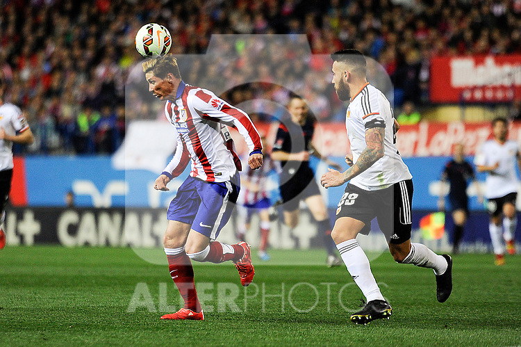 Atletico de Madrid´s Fernando Torres and Valencia CF´s Nicolas Otamendi during 2014-15 La Liga match between Atletico de Madrid and Valencia CF at Vicente Calderon stadium in Madrid, Spain. March 08, 2015. (ALTERPHOTOS/Luis Fernandez)